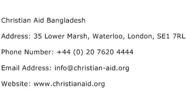Christian Aid Bangladesh Address Contact Number