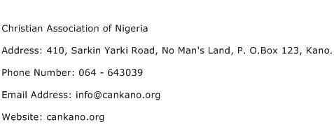 Christian Association of Nigeria Address Contact Number