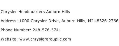 Chrysler Headquarters Auburn Hills Address Contact Number