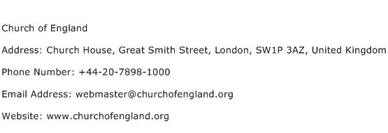 Church of England Address Contact Number