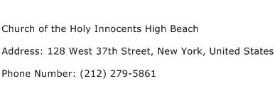 Church of the Holy Innocents High Beach Address Contact Number