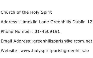 Church of the Holy Spirit Address Contact Number
