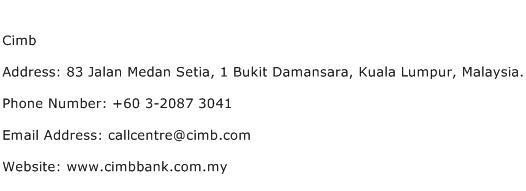 Cimb Address Contact Number