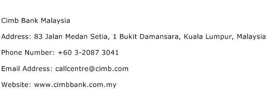 Cimb Bank Malaysia Address Contact Number