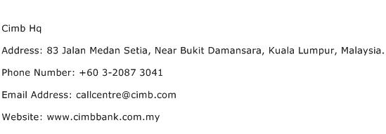 Cimb Hq Address Contact Number