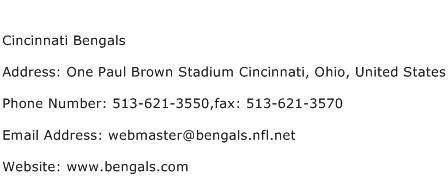 Cincinnati Bengals Address Contact Number