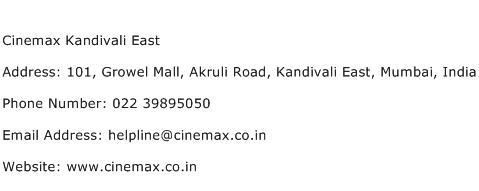 Cinemax Kandivali East Address Contact Number