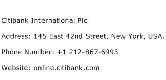 Citibank International Plc Address Contact Number