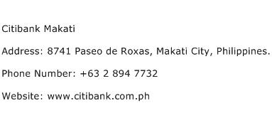 Citibank Makati Address Contact Number