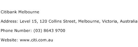 Citibank Melbourne Address Contact Number