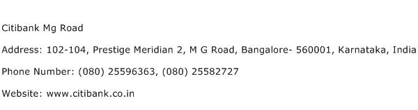 Citibank Mg Road Address Contact Number