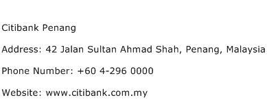 Citibank Penang Address Contact Number