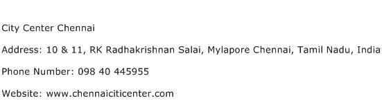 City Center Chennai Address Contact Number
