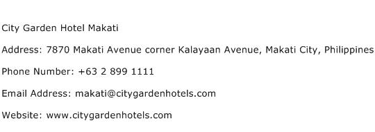 City Garden Hotel Makati Address Contact Number