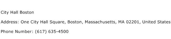 City Hall Boston Address Contact Number