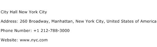 City Hall New York City Address Contact Number