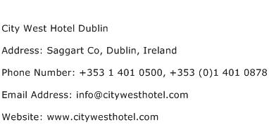 City West Hotel Dublin Address Contact Number