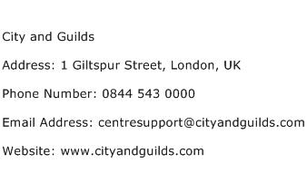 City and Guilds Address Contact Number