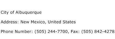 City of Albuquerque Address Contact Number