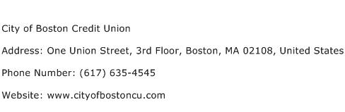 City of Boston Credit Union Address Contact Number