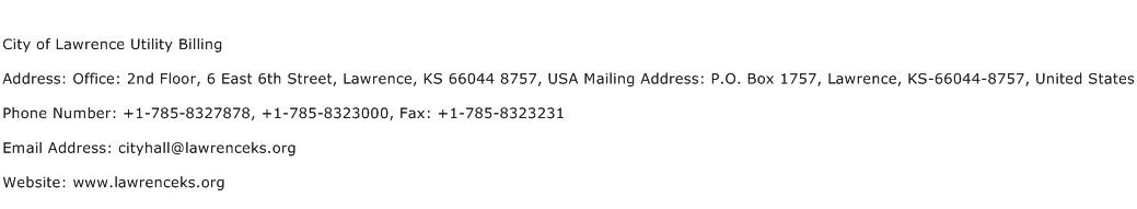 City of Lawrence Utility Billing Address Contact Number