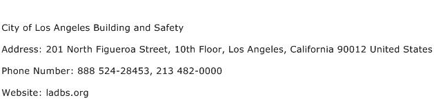 City of Los Angeles Building and Safety Address Contact Number