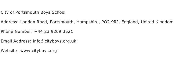 City of Portsmouth Boys School Address Contact Number