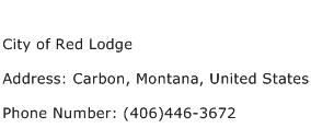 City of Red Lodge Address Contact Number