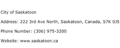 City of Saskatoon Address Contact Number