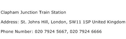 Clapham Junction Train Station Address Contact Number