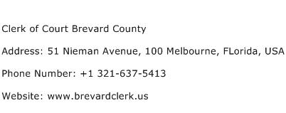 Clerk of Court Brevard County Address Contact Number