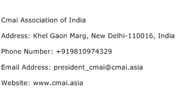 Cmai Association of India Address Contact Number