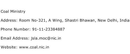 Coal Ministry Address Contact Number