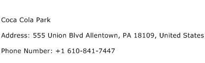 Coca Cola Park Address Contact Number
