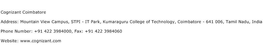 Cognizant Coimbatore Address, Contact Number of Cognizant