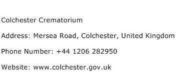 Colchester Crematorium Address Contact Number