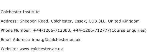 Colchester Institute Address Contact Number