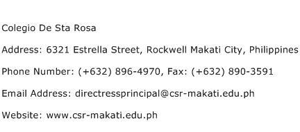 Colegio De Sta Rosa Address Contact Number
