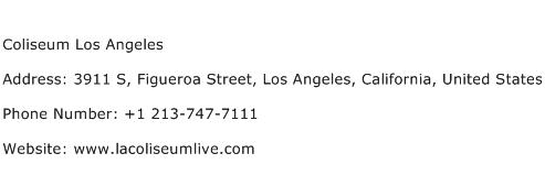 Coliseum Los Angeles Address Contact Number