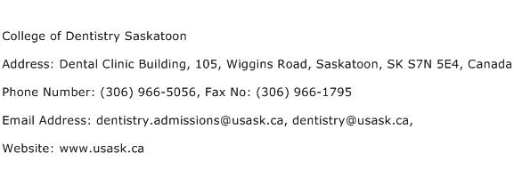 College of Dentistry Saskatoon Address Contact Number