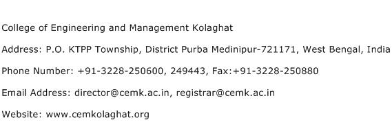 College of Engineering and Management Kolaghat Address Contact Number