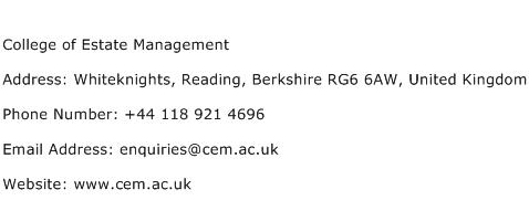 College of Estate Management Address Contact Number