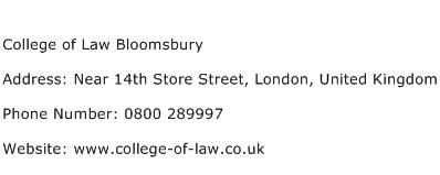 College of Law Bloomsbury Address Contact Number
