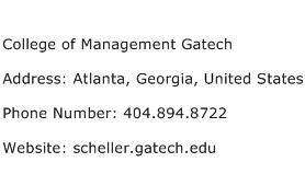 College of Management Gatech Address Contact Number