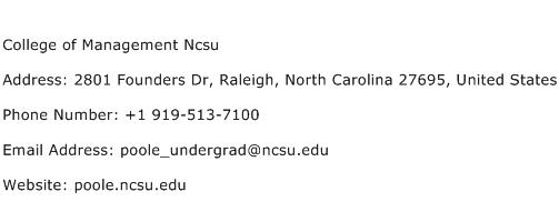 College of Management Ncsu Address Contact Number