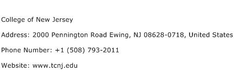 College of New Jersey Address Contact Number