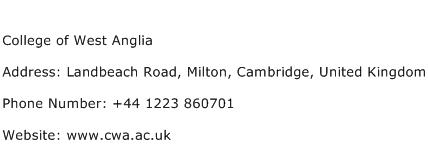 College of West Anglia Address Contact Number