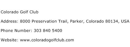 Colorado Golf Club Address Contact Number