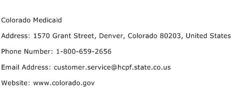 Colorado Medicaid Address, Contact Number of Colorado Medicaid