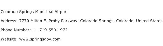 Colorado Springs Municipal Airport Address Contact Number